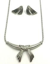 Vintage Bow Necklace Earrings Set Silver Tone Twist Knotted Tassel Shape... - $9.84