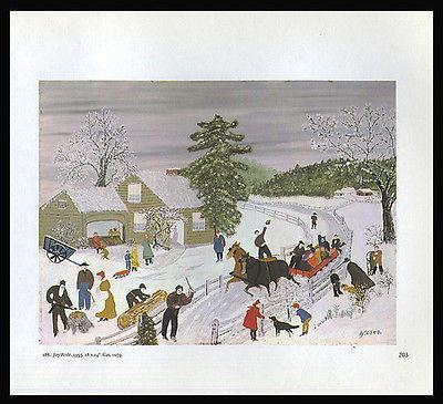 Primary image for Grandma Moses 1973 Print Joy Ride Winter Horse Sleigh Americana Reproduction Art