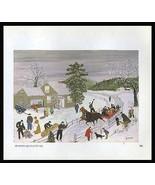 Grandma Moses 1973 Print Joy Ride Winter Horse Sleigh Americana Reproduc... - $14.99