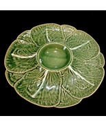 VTG BORDALLO PINHEIRO Portugal CABBAGE GREEN Pattern Chip and Dip Platter  - $16.50