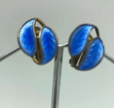 Vtg David Andersen Cobalt Blue Enamel Leaf Clip Earrings Sterling Vermei... - $43.46