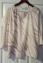 Womens EUC Chico's Size 2 (12/14) Dolman Sleeve White Animal print Polye... - $5.94