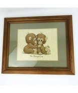 Vintage Baby Chimpanzee Monkeys Needlepoint Embroidery Framed Picture Ma... - $98.99