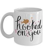 Hooked On You Valentines Lover Coffee Mug - Funny Valentine Ceramic Trav... - $14.95+
