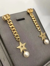 Authentic Christian Dior 2019 CC LOGO CHAIN STAR DANGLE TRIBALE EARRING  image 3