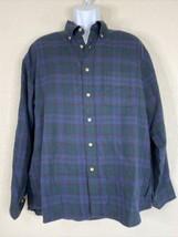 Vintage Viyella Men Size L Dark Green/Blue Plaid Shirt Long Sleeve Hong ... - $27.00