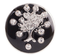 Silver Black Rhinestone Tree 20mm Snap Charm Jewelry For Ginger Snaps - $6.19