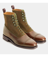 Handmade New Oxfords High Ankle Brown Leather Suede Formal  Boot  - $166.73+