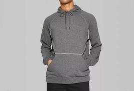 Original Use™ Men's French Terry Raw Edge Raglan Hooded Charcoal Sweatsh... - $23.36