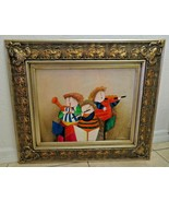 Joyce Roybal framed oil painting on canvas Whimsical Puffy Musicians - $80.00