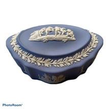 Vintage Wedgwood Japserware Blue White Cherubs Oval Trinket Box Ceramic ... - $34.64
