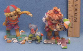 Lot 2 1994 Enesco No Strings Attached Puppet Figurines Piggy Back Ride B... - $12.86