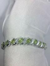 Art Deco Vintage Genuine Peridot Amethyst 925 Sterling Silver Rhodium Br... - $183.15