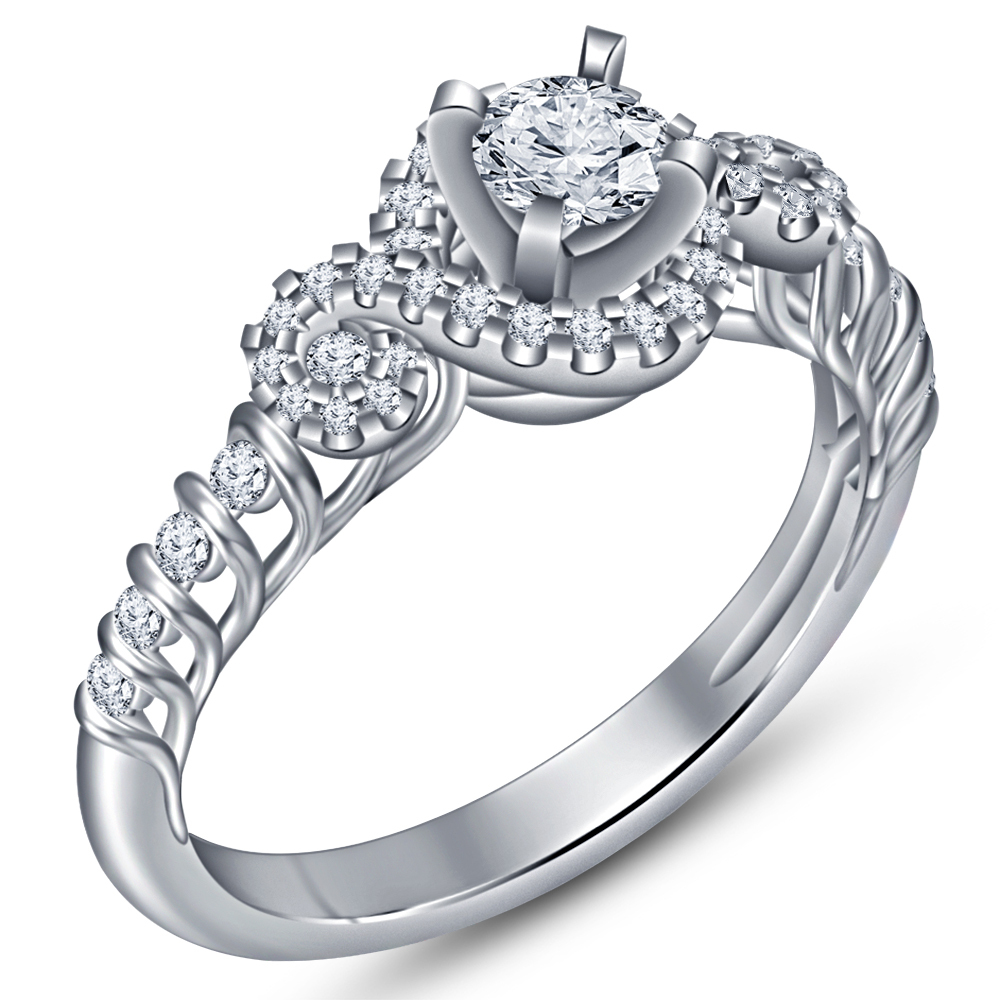 Round Cut CZ 14k White Gold Plated 925 Silver Beautiful Bridal Wedding Ring Set