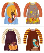 NWT Sunshine Swing Girls Fox Hedgehog Owl Fall Long Sleeve Raglan Dress - $12.99
