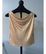 """Gianfranco Ferre """"Jeans"""" Gold Sparkly Draped Neck Top L Holiday Sparkle ... - $32.55"""