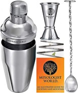 Cocktail Shaker Bar Tools - Built-in Strainer Set with Double Jigger, - $23.15
