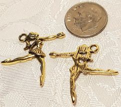BALLERINA FINE CAST PEWTER CHARM MADE IN THE USA ANTIQUE GOLD FINISH image 3