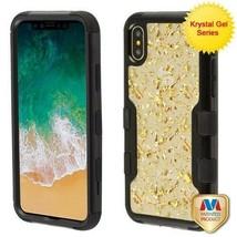 For APPLE iPhone XS/X Gold Flakes PC Back/Black TUFF Vivid Hybrid Case C... - $14.56