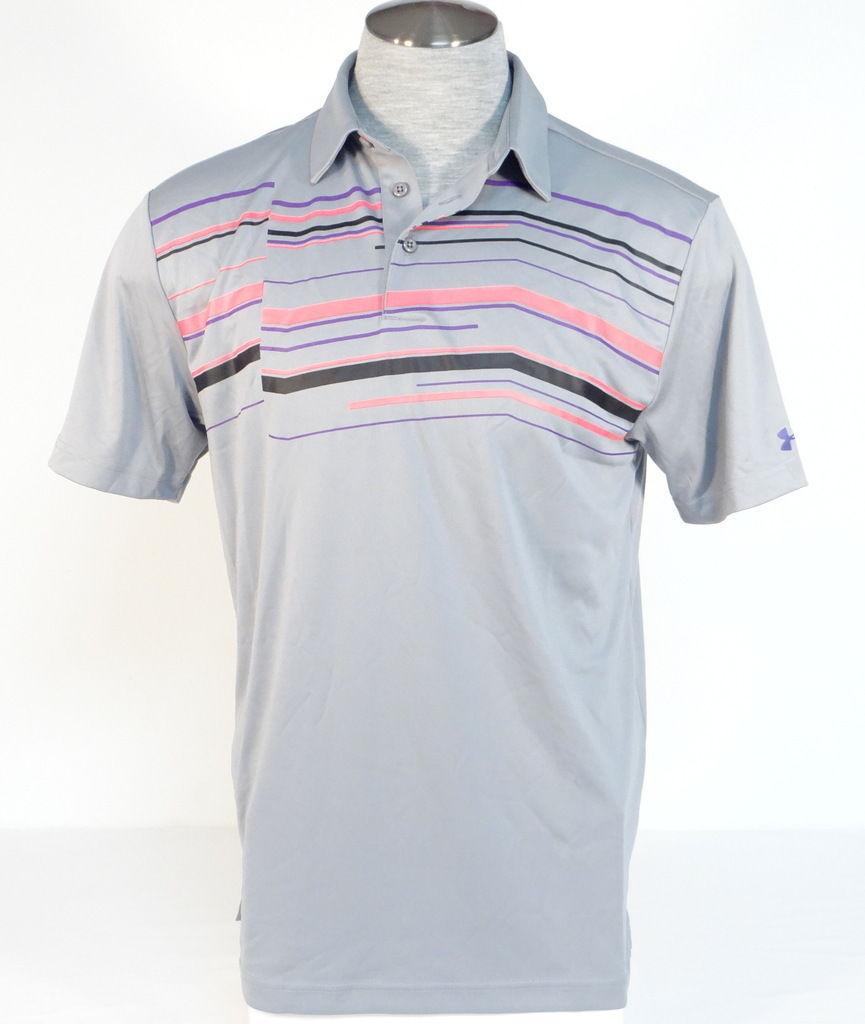 Under Armour Moisture Wicking Gray Offset Stripe Short Sleeve Polo Shirt Men NWT - $52.49