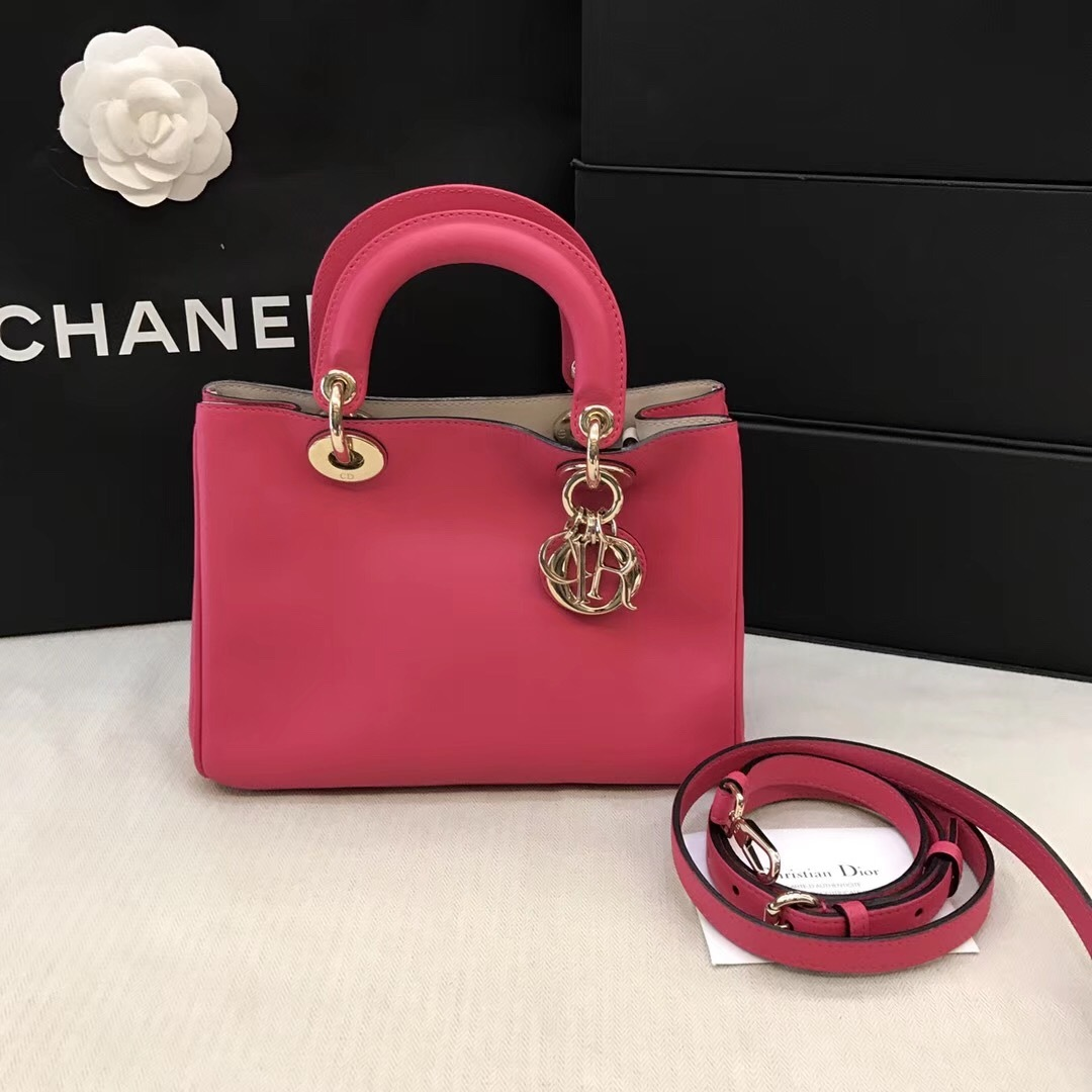 Authentic Christian Dior Small Dorissimo Peachy Fuchsia Pink Leather Tote Bag
