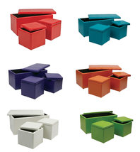 3 Piece SET - Bold Colors Vinyl 34.5W 1 OTTOMAN Bench + 2 Storage Cubes ... - $149.99