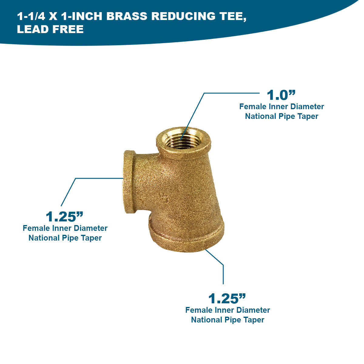 Everflow 1-1//4 x 3//4 Inch Lead Free Brass Reducing Coupling With Female Threaded
