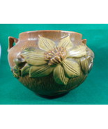 """Vintage Roseville Clematis Brown and Yellow 2 Handled Jardinere 667-5"""" - $222.75"""