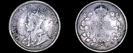 1914 Canada 5 Cent World Silver Coin - Canada - George V - $13.99