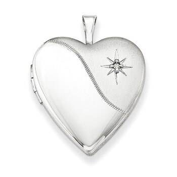 Primary image for Lex & Lu Sterling Silver 20mm w/Diamond Star Satin/Polished Heart Locket