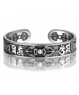 925 Sterling Thai Silver Bangle Men Jewelry Buddha Mantra Instruments Br... - $119.99