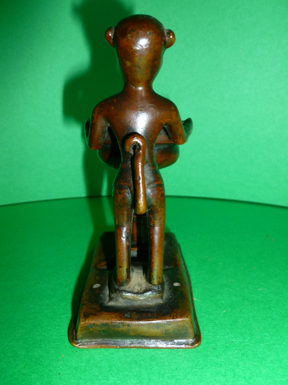Antique Bronze Oil Lamp With Monkey From India C.1830 - 1840