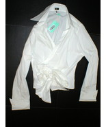NWT New Womens 12 14 Designer PAUW Amsterdam 5 White Top Wrap Blouse But... - $359.20