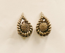 Signed Boucher Silver Crystal Clip On Earrings // Vintage Ladies Designe... - $35.00