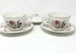 Provincial Designs Nikko Japan Tea Cup Saucer Floral Flower Red Green Blue White - $9.69