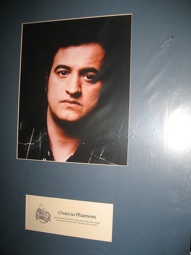 Primary image for John Belushi photo matted with Chateau Marmont letterhead.(Place where he died)
