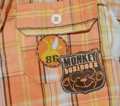 Little Rebels Boys 3 Piece Orange Brown Monkey Business Short Set Size 18 months image 12