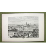 FRANCE Nacy View of City Center Cathedral - 1880s Antique Print - $11.25