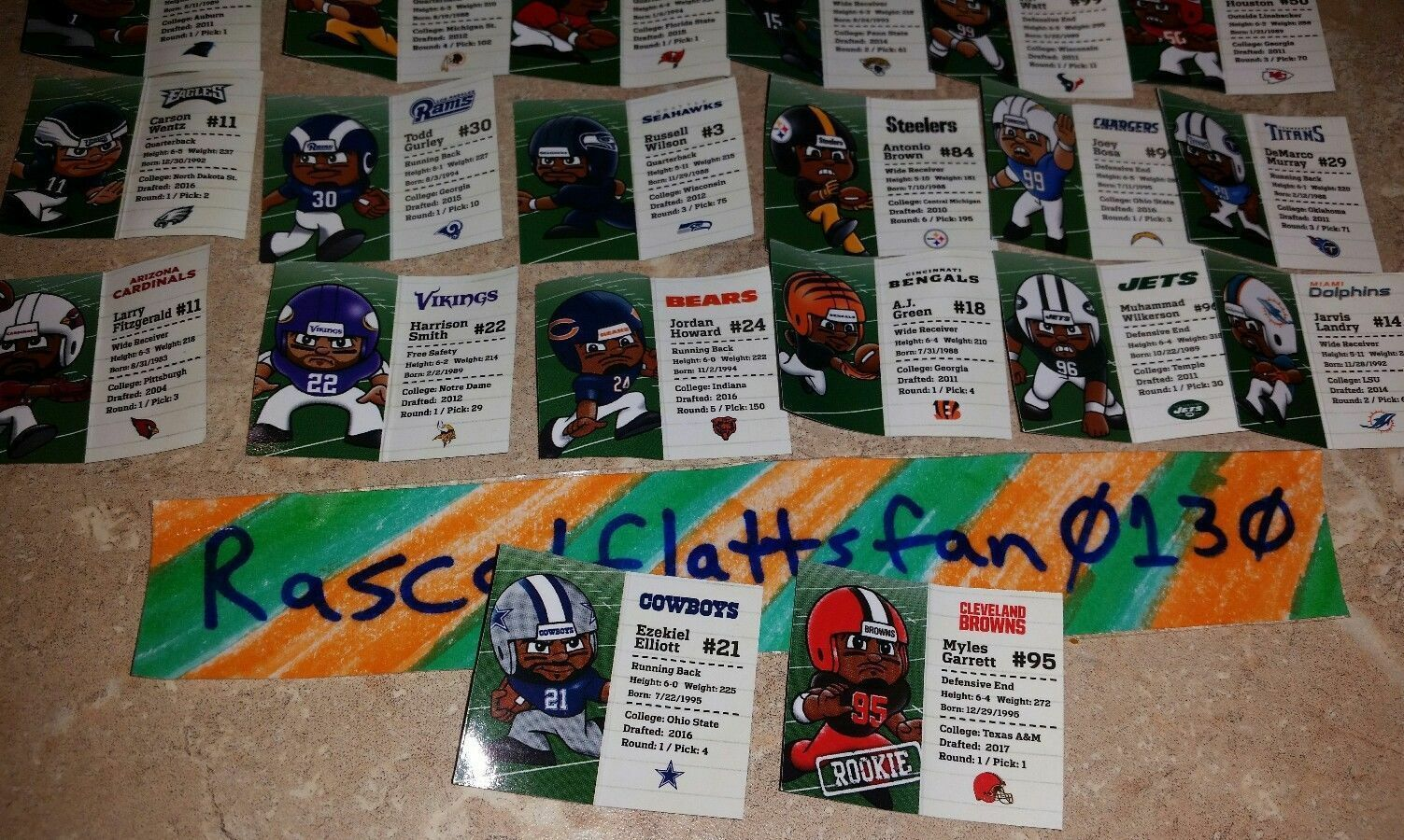 NFL FOOTBALL TEENYMATES SERIES 6 COMPLETE SET OF 32 PLAYER PROFILE CARDS!!! 2017