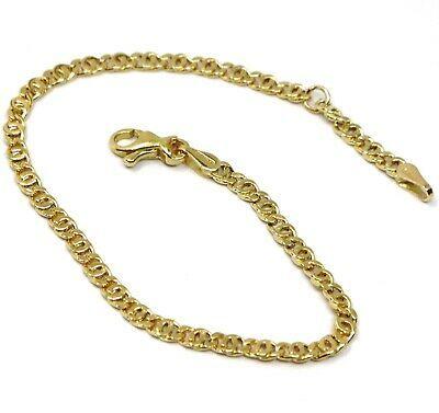 "18K YELLOW GOLD BRACELET FLAT LINKS, length 16 cm 6.3"" INCHES, 2.5 mm"