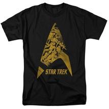 Star Trek T-shirt animated star fleet emblem retro graphic black tee CBS1476 image 1