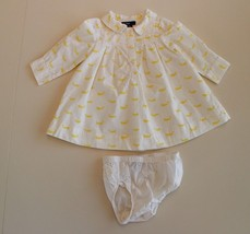Baby Gap 3-6 M Yellow Ivory Whale Dress w/ Bloomers L/S Nautical - $19.77