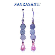 Nagrasanti SS Aquamarine/Pearl Dangle Earrings - €23,18 EUR