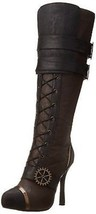 "Ellie 420-Quinley Sailor Combat Lace Up Steampunk Gears Rock 4"" Heel Boo... - $106.08"