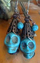 Skull Howlite Earrings with Copper Merlin's Hat and Turquoise Tassel Han... - $29.99