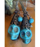 Skull Howlite Earrings with Copper Hat and Turquoise Tassel Made in USA - €26,46 EUR