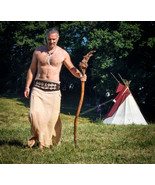 Wild Shamanic long skirt in cotton for men and women with embroidered wa... - $62.00