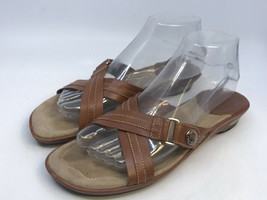 Women's Cole Haan NikeAir Brown Leather Strap Slide Sandals Shoes Size 8B - $17.82