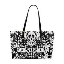White Black Skull Art Euramerican Leather Tote Bag Custom Handmade Women... - $86.05 CAD