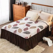 AUTUMN LEAVES REVERSIBLE BEDSPREAD COVERLET 1 PCS QUEEN SIZE FRESH AND C... - £49.88 GBP